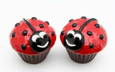 Fine Porcelain Figurine Salt and Pepper Shaker Set Collectible - LadyBug Cupcake S/P by Cosmos. $17.99