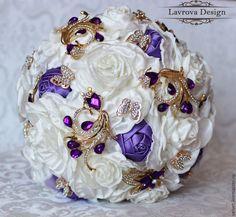 """Купить Букет невесты """"Lavender"""" - белый, брошь, брошь букет, невеста, цветы, букет невесты"""