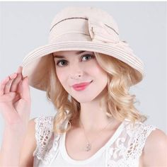 ca9a87612e4 Summer wide brim sun hat with bow for women UV outdoor bucket hats package