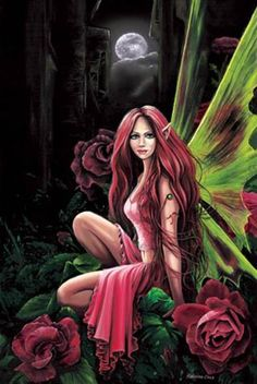 Red Gothic Rose Fairy in Moonlight Poster Print Magic Mythical Fantasy Art Fairy Pictures, Fantasy Pictures, Fantasy Kunst, Fantasy Art, Fantasy Fairies, Fantasy Posters, Fantasy Love, Fantasy Creatures, Mythical Creatures
