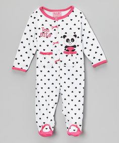 Take a look at this White & Black Panda 'Too Cute' Footie - Infant on zulily today!