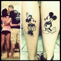 Mickey and Minnie Mickey Tattoo, Mickey And Minnie Tattoos, Mickey Y Minnie, Trendy Tattoos, Love Tattoos, Body Art Tattoos, Twin Tattoos, Beautiful Tattoos, Tatoos