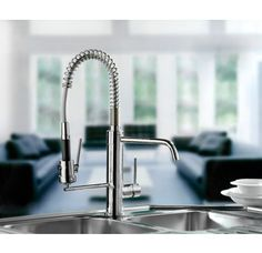 Mico 7714 Single Handle Kitchen Faucet with Metal Lever Handle and Pull-Out Spray from the Pro Chef Collection
