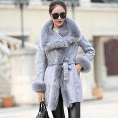 new winter high fashion women's luxurious faux fur coat slim fit Suede Faux Leather long outerwear parkas top quality
