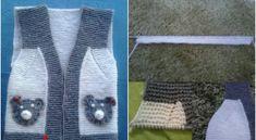 Ayıcıklı Bebek Yeleği Yapılışı | Yeni Hobi Baby Knitting Patterns, Crochet For Kids, Blackwork, Baby Kids, Clothes, Doll, Crafts, Fashion, Outfit