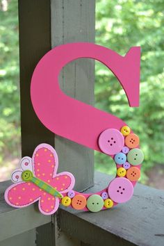 Button Letter- Personalized Letter- Butterfly Decor- Nursery Decor- Girls Room- Wooden Letters- Assorted Pastel Buttons- Home Decor Kids Crafts, Craft Projects, Diy And Crafts, Button Crafts For Kids, Craft Ideas, Button Letters, Button Art, Mdf Letters, Craft Letters