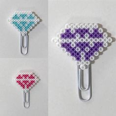 This Diamond Mini Planner clip is a fun and sassy way to keep track of your schedule and to do lists!  Check out Happy Hearts Paper Co. for more fun planner ideas and Perler bead planner accessories and bookmarks.  #planners #plannerideas #happyplanner #deskdecor #officedecor #bookmarks #plannerclips #perlerbeads #happyheartspaperco #etsyseller #etsyshop