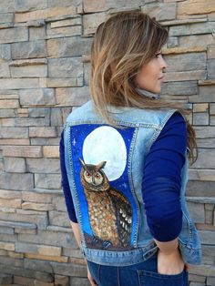 Great Horned OWL MOON Wearable Bird Art Upcycled Vest Hand