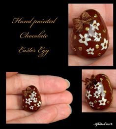 Luxury Chocolate Hand Painted Easter Egg - Artisan fully Handmade Miniature in 12th scale. From After Dark miniatures.