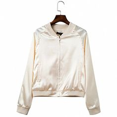 TRAEND New Fashion Wild Sequined Pure Color Bomber Jacket Slim Long Sleeves Zippers Silk Satin Outwear Spring Autumn Coat