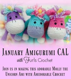Supplies and giveaways for this adorable Amigurumi Unicorn by Jackie Laing of Amidorable Crochet is now available!---> https://furlscrochet.com/blogs/amigurumi-crochet-tutorials/january-amigurumi-cal-supplies-list-and-giveaway-molly-the-magical-unicorn  Part One will be released January 26th, so stay tuned