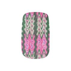 Bright pink green abstract pattern nail wraps
