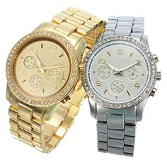 Fashion Men Stainless Steel Band Crystal Gear Dial Quartz Wrist Watch