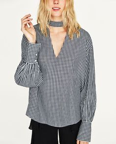 Image 2 of GINGHAM CHECK TOP from Zara