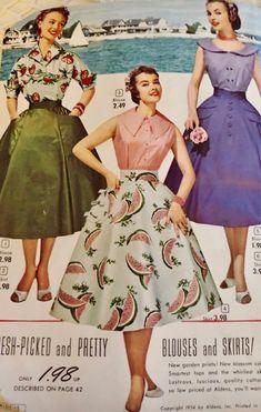Aldens Summer 1954 50s Inspired Fashion, 1950s Fashion, Vintage Inspired, Vintage Fashion, Women's Fashion, Vintage Fabrics, Vintage Patterns, Posing Guide, Border Print