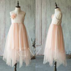 2016 Junior Bridesmaid dress Long Pink Blush Flower by RenzRags