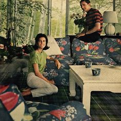 The patterns of the rich. Billy Baldwin-decorated house, Long Island - Mr. And Mrs. Winston Guest II. (Stephanie Guest, born 1943, is the daughter of Hollywood producer Walter Wanger and movie star Joan Bennett.) They later divorced. Horst 1968.