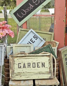 You could make these vintage wooden signs (to sell) really easily with paint, sand paper and stencils/stamps