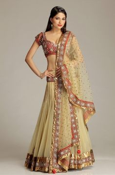 Yellow and red lengha