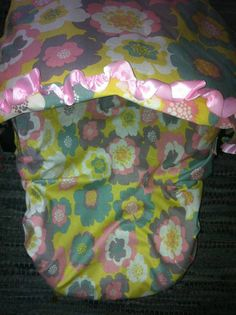 Yellow Floral Infant Carseat Cover with Canopy cover on Etsy, $50.00