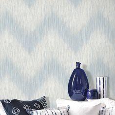 Modern-Simple-Style-Geometry-Weaves-Blue-Grey-Fuzzy-Lines-Roll-Wallpaper-AS65031