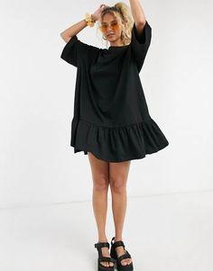 Weekday Erika organic cotton smock dress in black Short Long Dresses, Coton Biologique, Smock Dress, Latest Dress, Dresses For Sale, Smocking, Organic Cotton, Asos, T Shirts