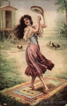 Gypsy: #Gypsy dancer with tambourine.