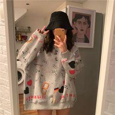 Korean version of the new fashion cute pattern sweater - eFashionova Women's Summer Fashion, Cute Fashion, New Fashion, Korean Fashion, Womens Fashion, Punk Outfits, Girl Outfits, Fashion Outfits, Estilo Indie