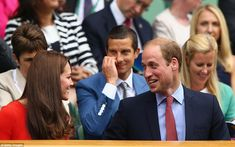 What's so funny? William appeared to be telling his wife a joke as the couple sat in front of Bear Grylls