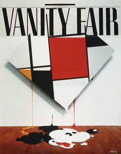 """Vanity Fair - An early trial cover, entitled """"Mickey Mondrian"""" and illustrated by Mick Haggerty in 1982"""