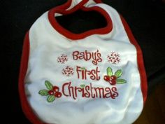 BABY'S FIRST CHRISTMAS BIB-EMBROIDERED ON 100% COTTON WITH HOLLY AND SNOWFLAKES-SO CUTE