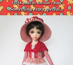 OOAK  set for Iplehouse KID resin BJD.  Complete outfit, dress, hat and accessories set.  Shoes included! 8 pieces in all.  By Raccoon's Rags at Etsy.