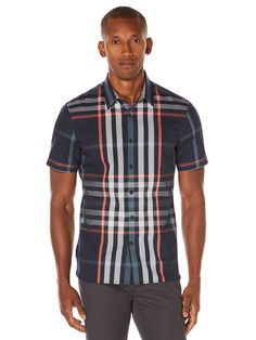 Short Sleeve Slim Fit Explosive Plaid Shirt, Dark Sapphire | Perry Ellis
