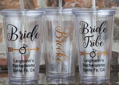 Bride Tribe Bachelorette Party Tumbler Cup by VinylGifts on Etsy