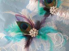 GATSBY Wedding Garter Set White Lace Tulle by NakedOrchidGarters