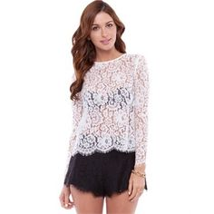 Keepsake the Label Almost Over LS Top Tops Available in Ivory Lace - Fashion Brand Sale