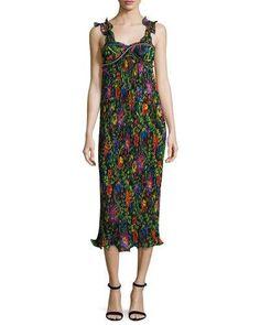 TDGCJ 3.1 Phillip Lim Sleeveless Floral Pleated Midi Dress, Black/Multicolor