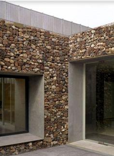 55 Best Gabion Wall Stone & Fences That Will Decorate Your Beautiful Landscape Area - Decor Units Stone Cladding, Exterior Cladding, Wall Cladding, Facade Design, Exterior Design, Architecture Design, House Design, Gabion Stone, Stone Wall Design