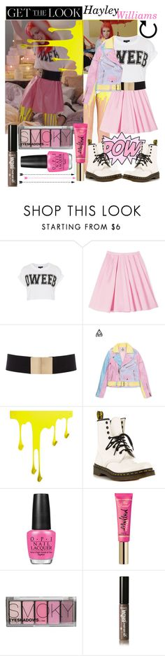 """""""Hayley Williams : Still Into You Music Video"""" by swiftie4ever01 ❤ liked on Polyvore featuring Topshop, Carven, Dr. Martens, OPI, Too Faced Cosmetics, H&M, Benefit, music, paramore and bands"""