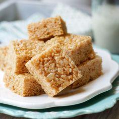 Healthy Rice Crispy Treats (Vegan) Recipe Desserts with brown rice syrup, coconut oil, vanilla extract, sea salt, brown rice