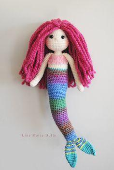 21 Crochet Mermaid Doll // Pink hair// Lace by LinaMarieDolls