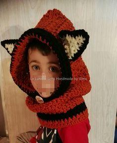 Cappuccio uncinetto con scaldacollo a forma di volpina per bambino o bambina, by La Luna di Lana - Handmade by Simo, 30,00 € su misshobby.com