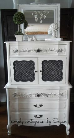 White and Black French Provincial Dresser