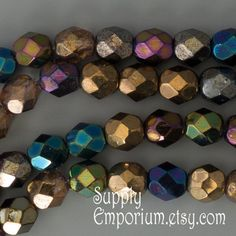6mm Heavy Metals Mix 25 Faceted Round Beads - 6mm - Firepolished Czech Glass Beads - 25 beads - 1812- Heavy Metals Mix 25 - 6mm Round