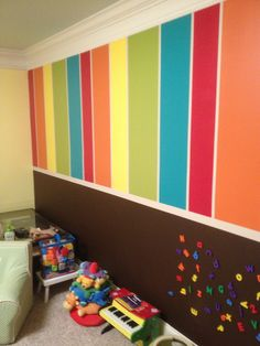 The bottom of the wall is chalkboard and magnetic paint!