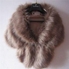 Womens Faux Fur Winter Warm Shawl Cloak Cape Coat wedding Jacket Wrap Stole New Wedding Coat, Wedding Shawl, Wedding Dress, Faux Fur Wrap, Faux Fur Collar, Lace Bolero, Fur Stole, Tutus For Girls, Fox Fur