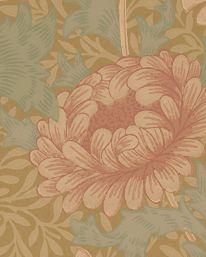Tapet Chrysanthemum Pink/Yellow/Green från William Morris & Co