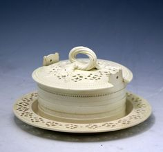 Antique period English creamware pottery butter tub cover and stand 18th century