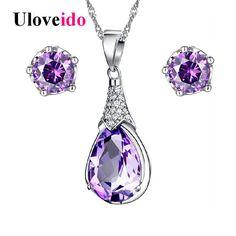Uloveido Purple Jewelry Sets Wedding Jewelry Necklace Earrings Set Crystal Silver Jewelry with Stones 2017 Jewellery 5%off WHT37