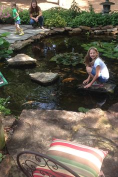 Kids playing around the pond. Children really love water! Water Play, Risk Management, Koi, Kids Playing, Jackson, Nursery, Patio, Fish, Explore